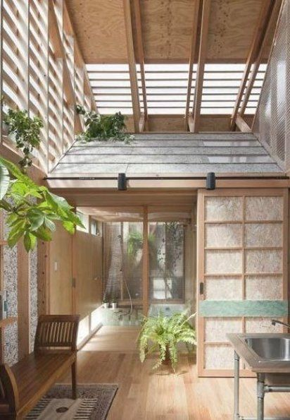 The tiny houses have corrugated slate roofs and chipboard screen doors in the traditional Japanese style and they contain the bedrooms bathroom and living Outside Outside house within a house by a a H