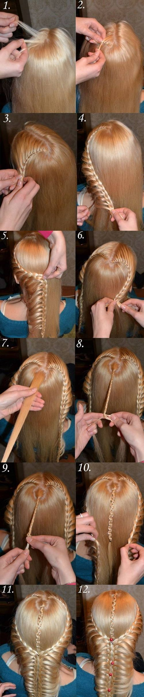 diy heart shaped french braids