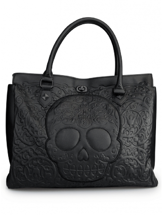 """Black on Black Skull Lattice"" Tote Handbag by Loungefly (Black)"
