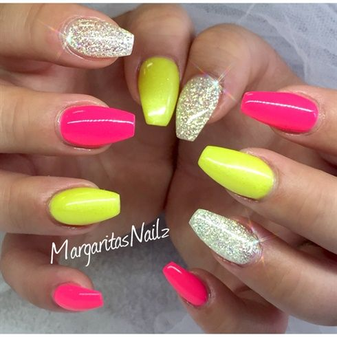 Neon Pink & Yellow | Ballerina nails | Pinterest | Pink yellow, Neon ...