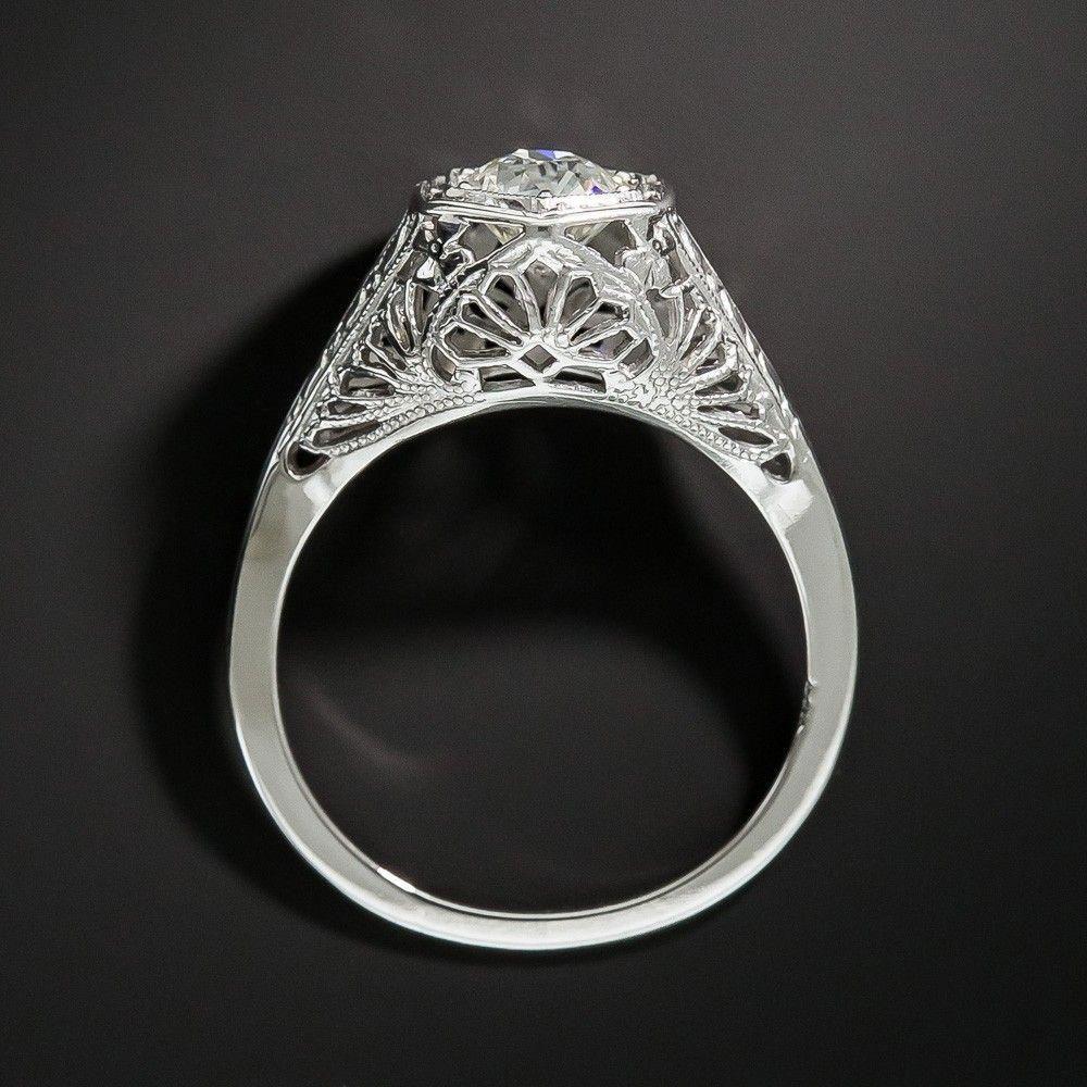 Art deco carat diamond solitaire engagement ring vintage