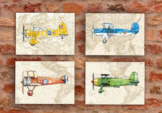Airplane On Vintage World Map Set Four Prints Style Prop Aircrafts Retro Decor Boy S Nursery Wall Art Transportation Poster