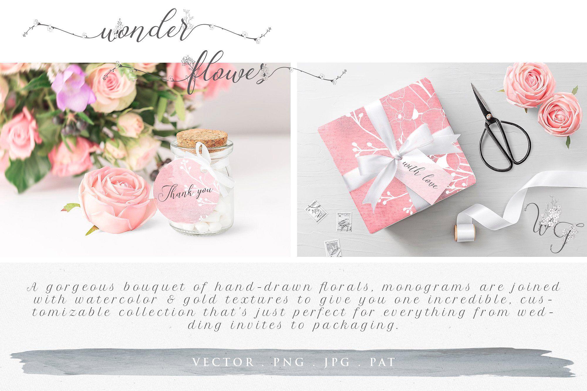 Wonder flowers monograms u logos by olyacreative on
