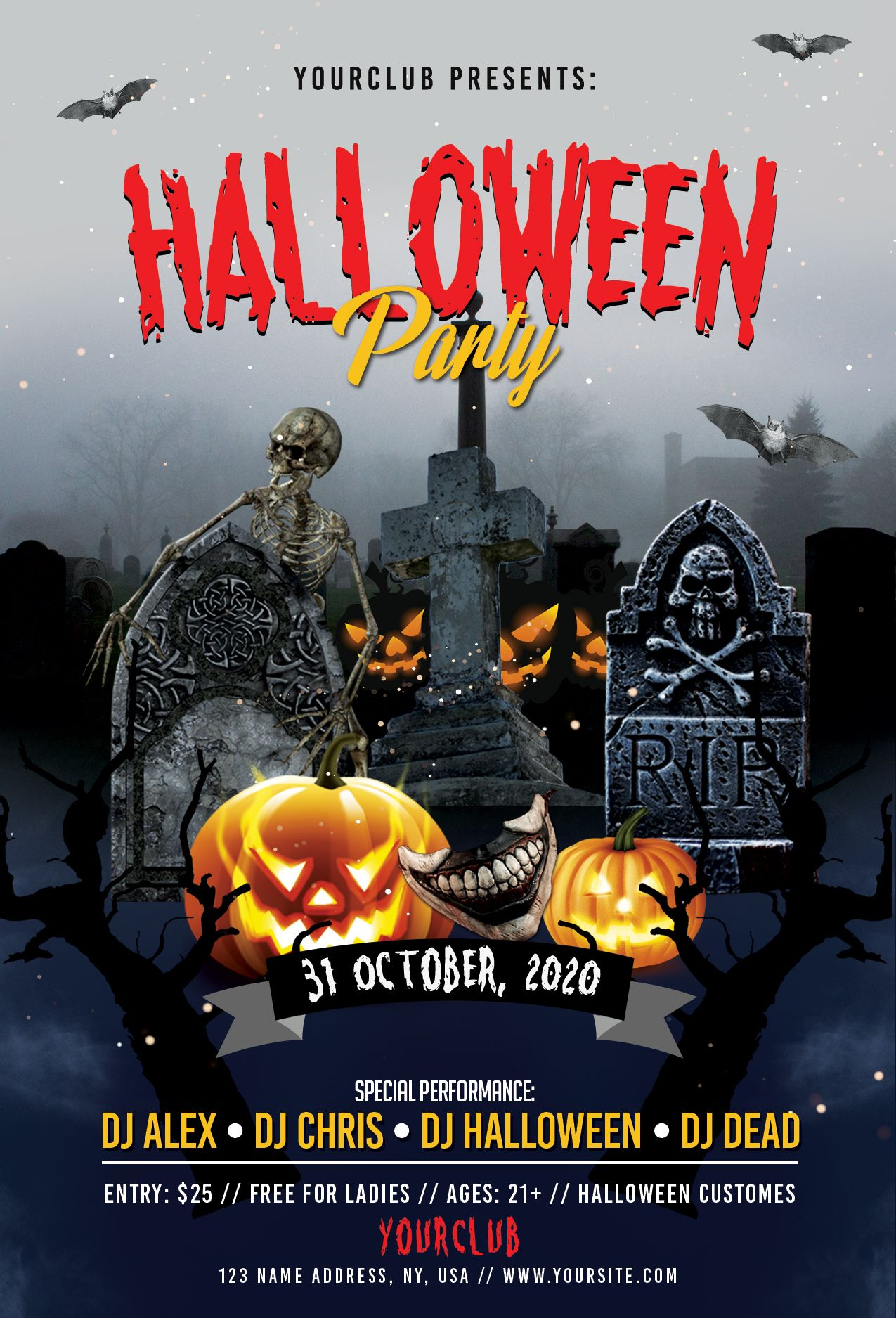 Happy Halloween PSD Flyer template for any club party