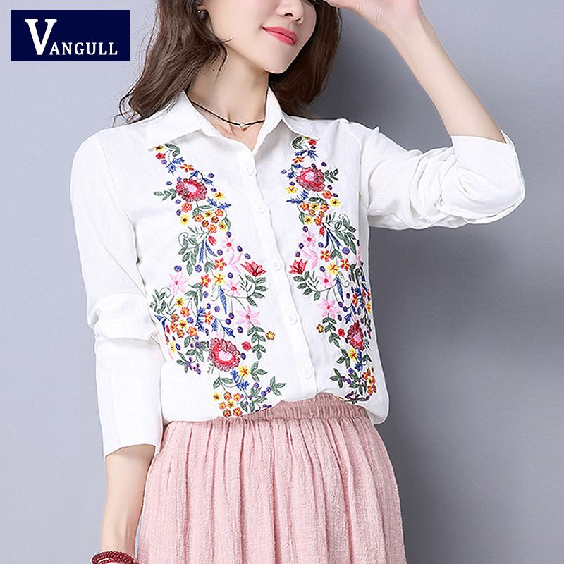 2bbd13ee7fa Womens Embroidery Shirts and Blouses Long Sleeve Floral Embroidery Shirt Top  Cotton Ladies Shirt Blusa Camisetas Femininas