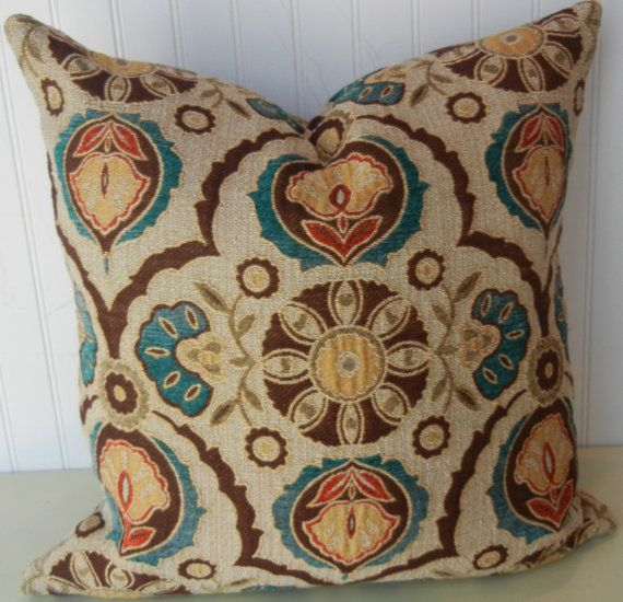 Sand Blue Brown Suzani Decorative Pillow Cover40x40 Or 40x40 Extraordinary Brown And Turquoise Decorative Pillows