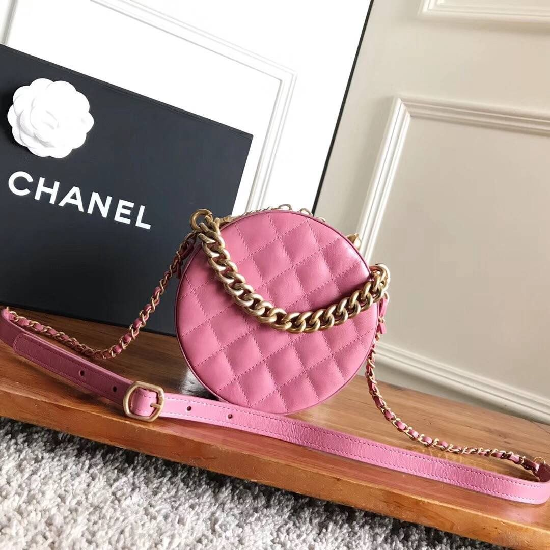 553aed8c1efb32 Chanel CC Logo Round Evening Bag A91946 Pink 2017 | Chanel Evening ...