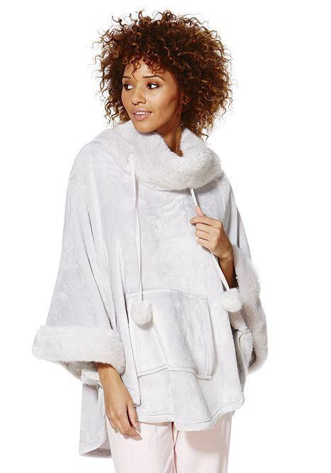 358b745cb075 Tesco Direct F F Faux Fur Trim Hooded Lounge Poncho in Grey