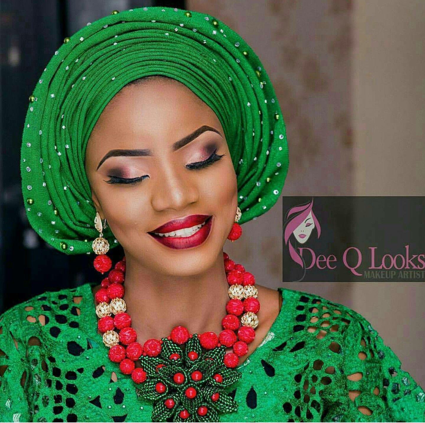Wedding Hairstyle Nigeria: Green Gele, Nigeria Wedding ,attire,aso Oke ,nigeria