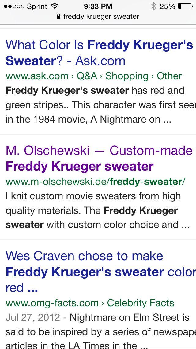 Freddy Sweaters Horror Pinterest