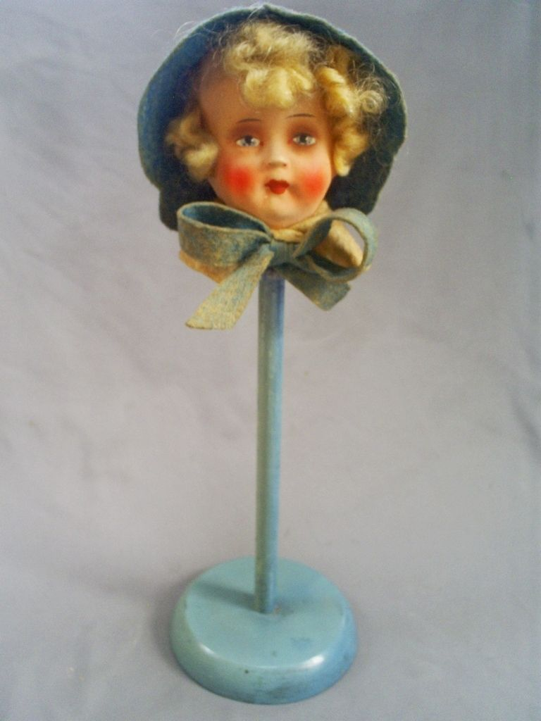 e0a605e28ef 1920 30s Lovely Vintage German Art Deco Flappers Boudoir Dolls Head Hat  Stand