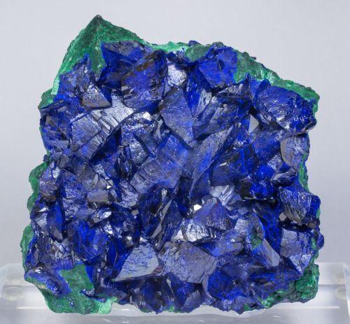 "bijoux-et-mineraux: ""  Azurite with Malachite - Milpillas Mine, Sonora, Mexico """