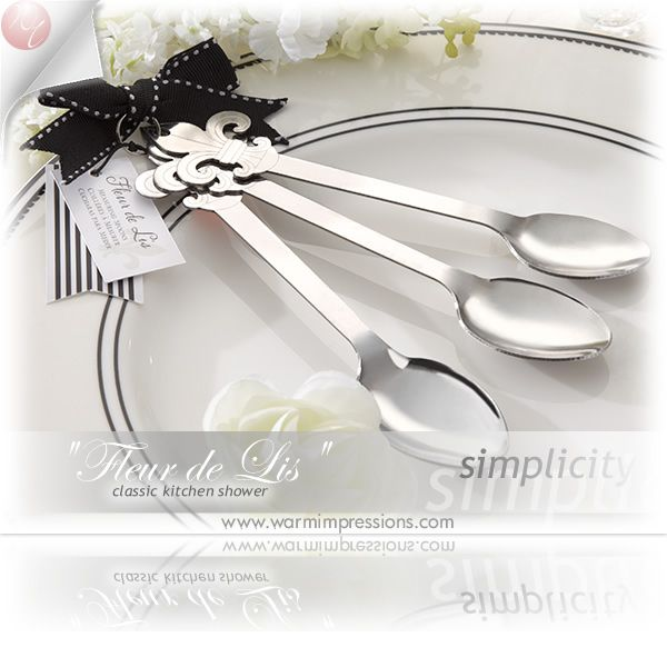 """""""Fleur de Lis""""Stainless-Steel Measuring Spoons Favors Gifts - 81% OFF - 13044NA - Cheap Wedding Favors - Cheap Bridal Shower Favors - Cheap Party Favors - http://www.warmimpressions.com/WEDDING_FAVORS/Fleur-de-Lis-Stainless-Steel-Measuring-Spoons-Favors-kate-aspen-13044NA.html"""