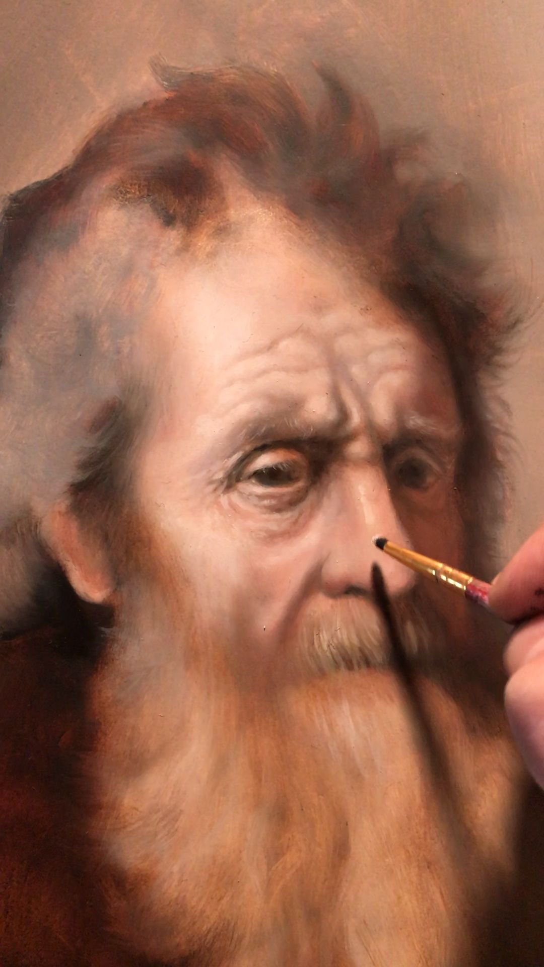 """Realism portrait painting Rembrandt master copy by classical figurative artist Eric Armusik.  Oil paint on panel, 11 x 14"""" 2020 work in progress.   Study with me - click the link #realistic #realism  #portraitpainting #rembrandt"""