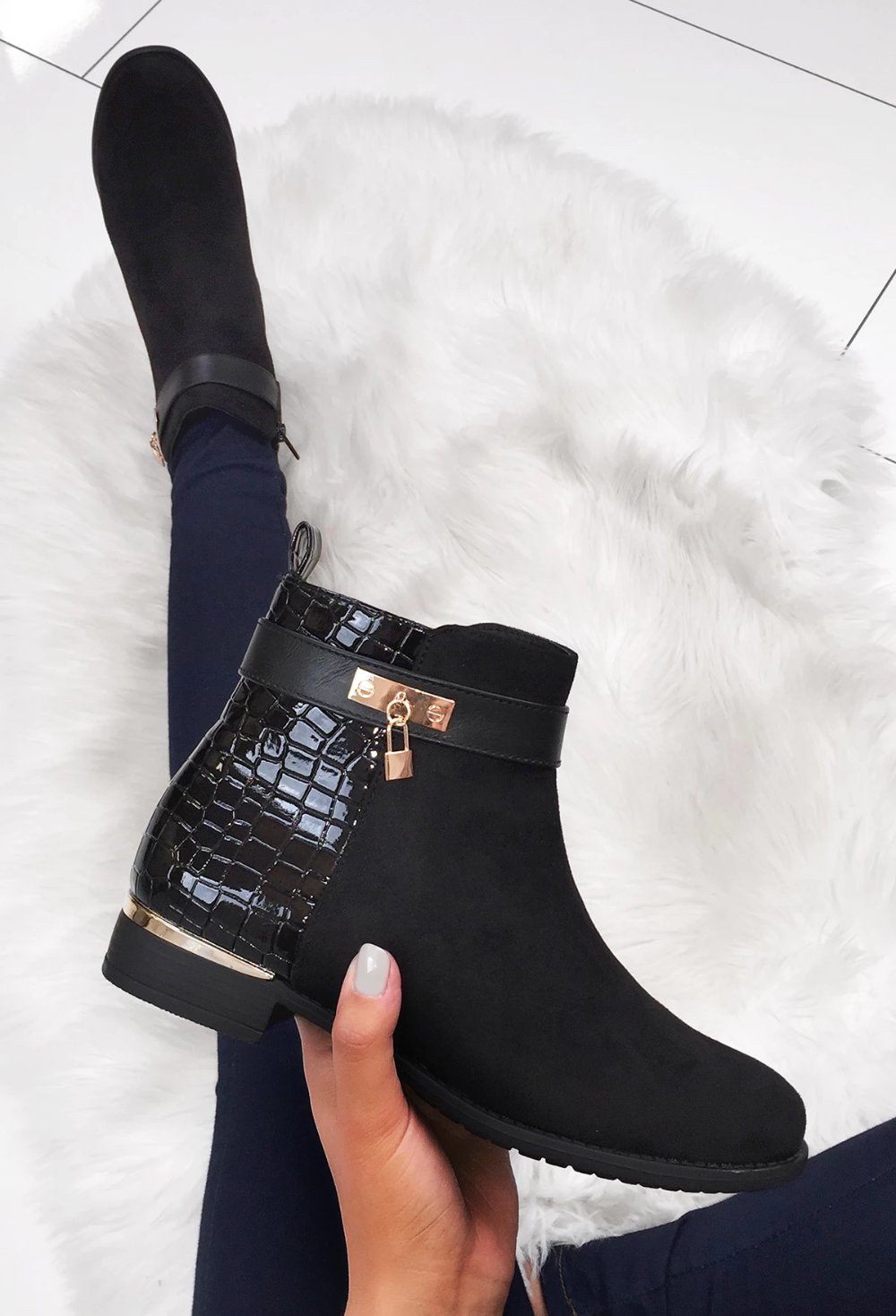 Black Patent Croc Flat Ankle Boot