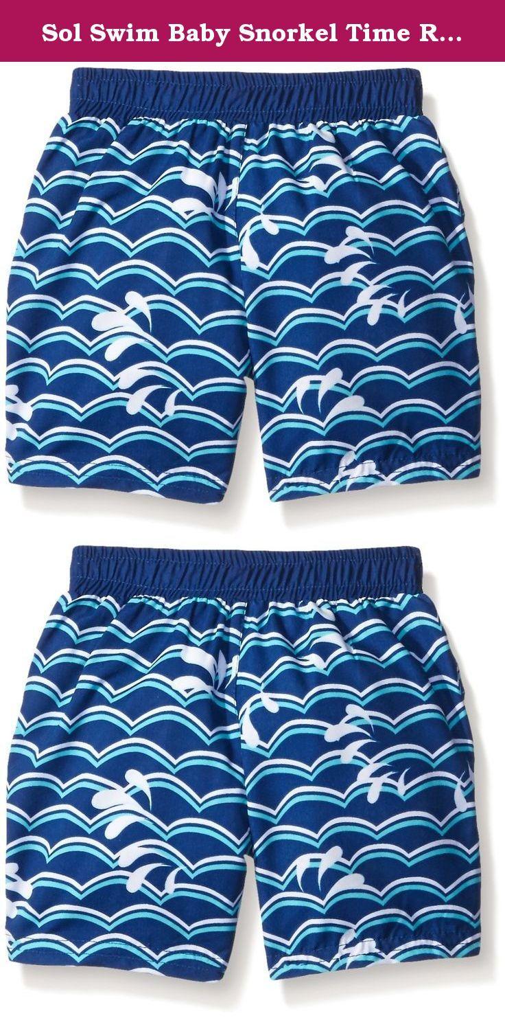 d456770947167 Sol Swim Baby Snorkel Time Rash Guard Set, Blue, 3-6 Months. 2 piece short  sleeve rash guard swim set.