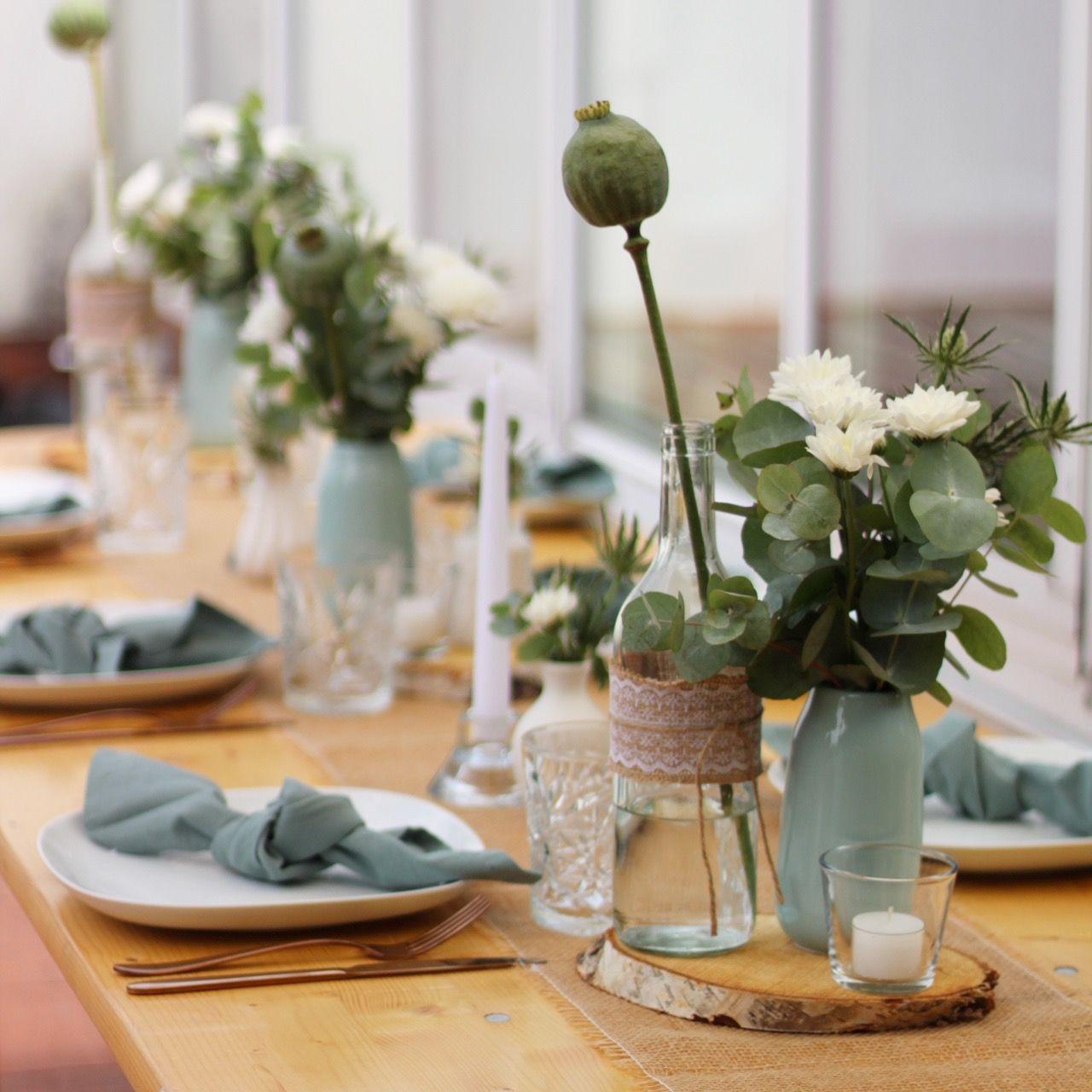 Dekoration in Mint * Hochzeit * Geburtstagsfeier * Taufe * mit Mohnkapseln, Disteln, Holzscheiben * Vintage #holzscheibendeko