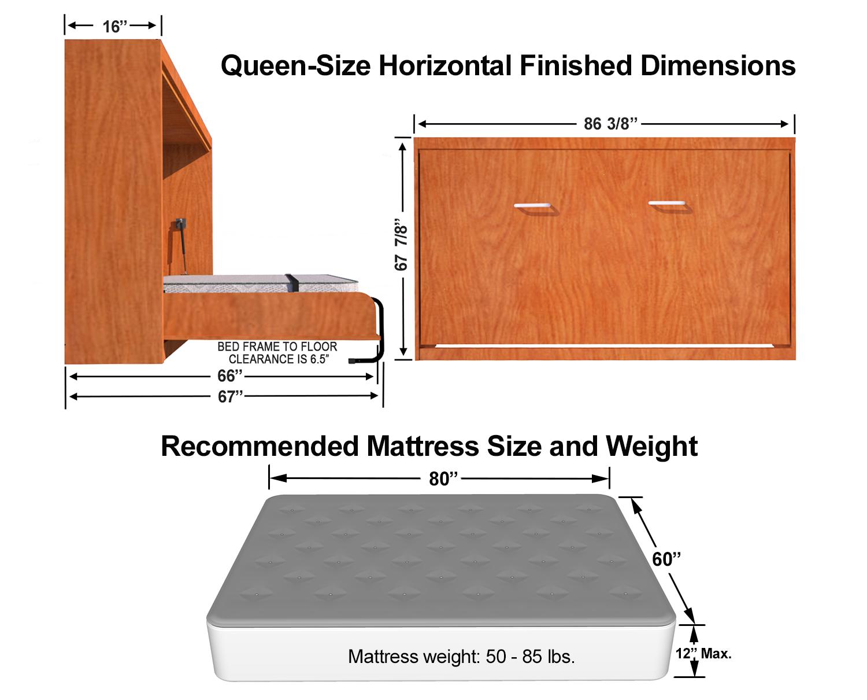 Horizontal Queen Size Kit Easy DIY Murphy Bed in 2020