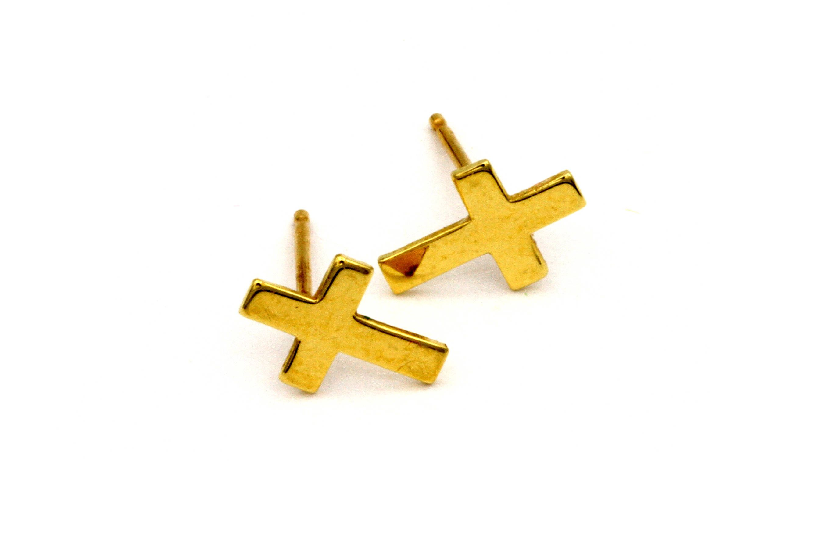in classic small stud yellow shaped cross earrings neon enamel dotoly products