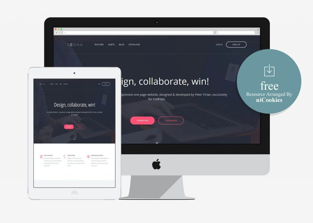 sedna free bootstrap one page website template