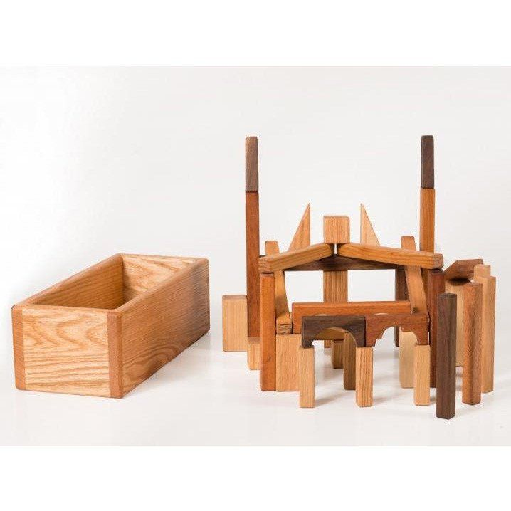 Natural Hardwood Wooden Blocks Set And Storage Box Wooden Building Blocks Wooden Blocks Making Wooden Toys