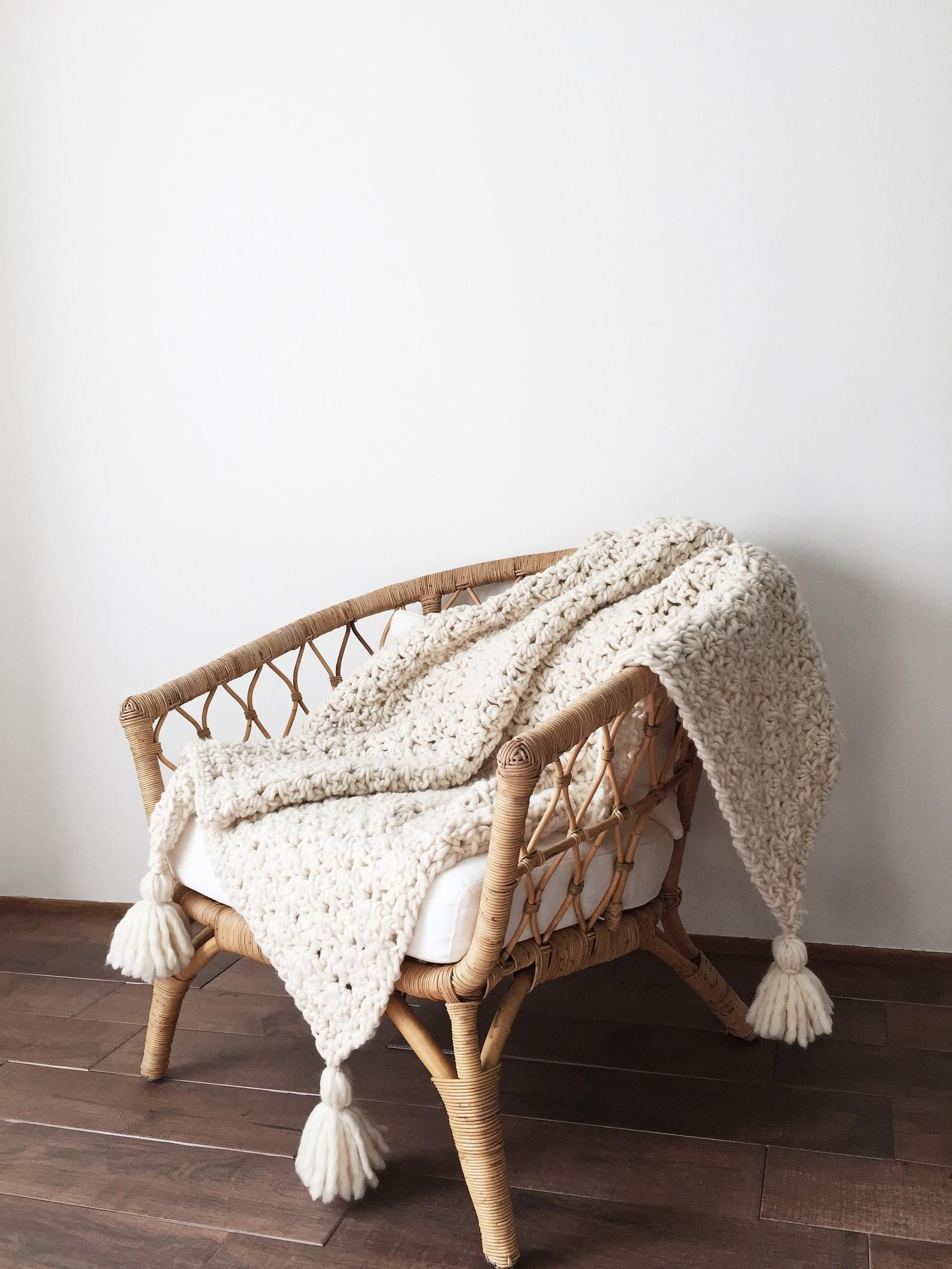 Crochet Pattern Chunky Blanket Throw Afghan Patter
