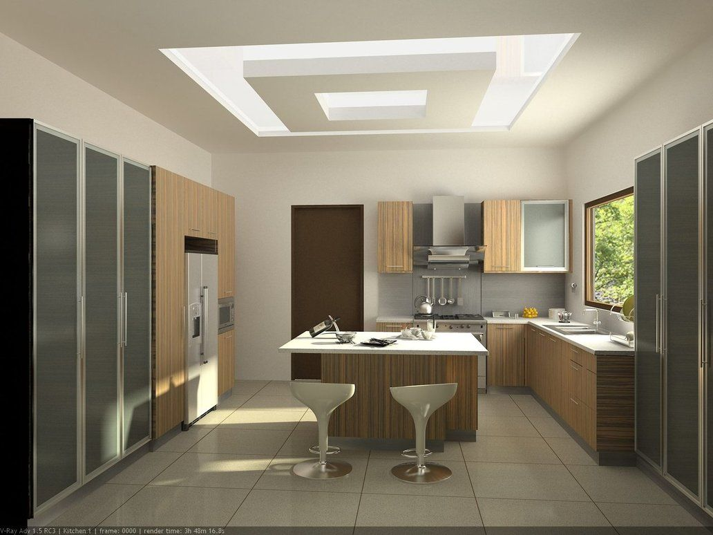 Contemporary A Simple Kitchen Layout By Dutdee With Pleasant Scheme Http Www Homedecoration Ideas Kitchen Ceiling Design Pop Ceiling Design Ceiling Design