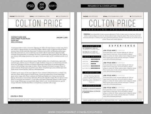 Resume CV  Cover Letter Template by Blissful Pixels on Creative