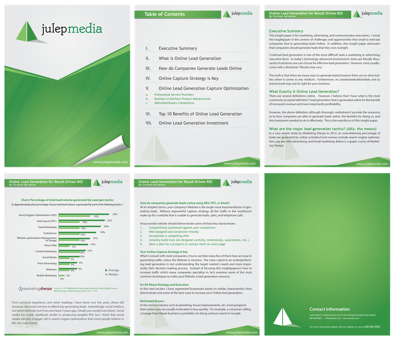 New MS Word Template Design For a White Paper- Julep Media by f ...