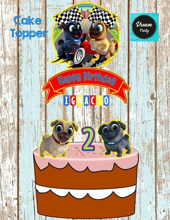 Puppy Dog Pals Cake Topper Puppy Dog Pals Birthday Puppy Dog Pals Party Custom And Printable Cake Topper Pupp Happy 2nd Birthday Kids Birthday Party Topper
