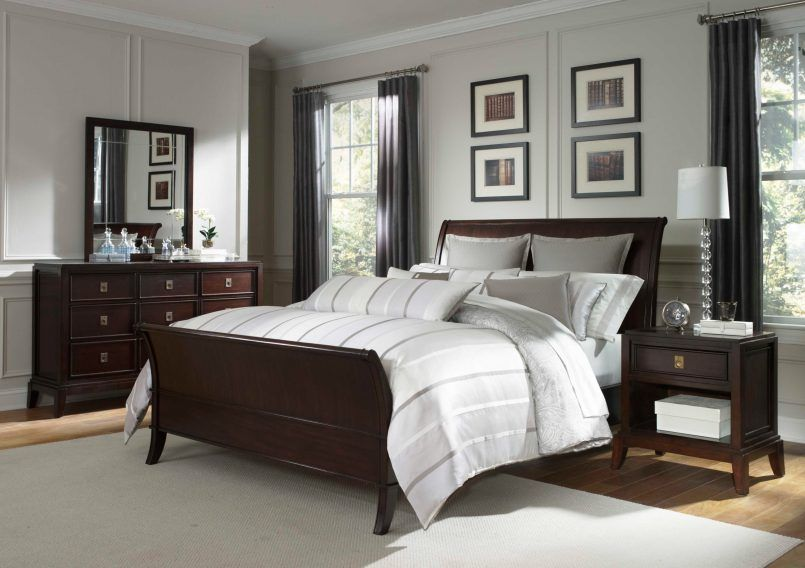 Light Warm Gray Paint And Cherry Wood Furniture Look Awesome Together In This Traditiona Brown Furniture Bedroom Dark Bedroom Furniture Wood Bedroom Furniture
