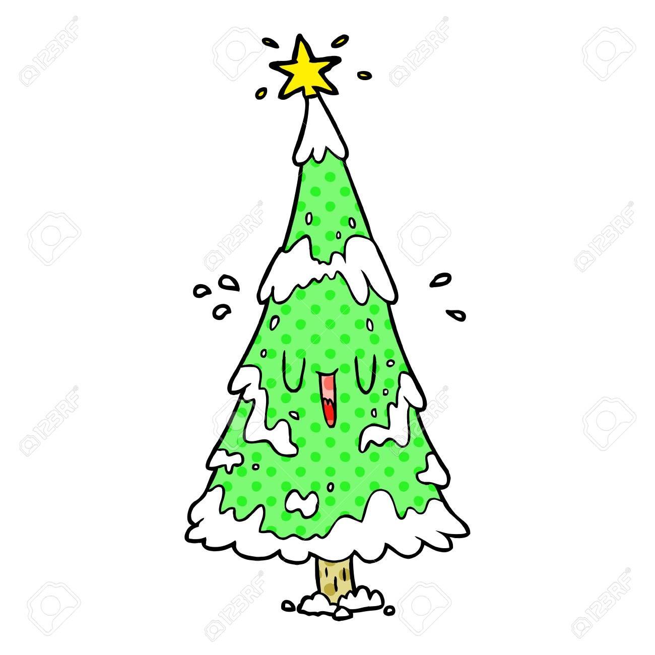 Cartoon Snowy Christmas Tree With Happy Face Sponsored Christmas Snowy Cartoon Face Happy