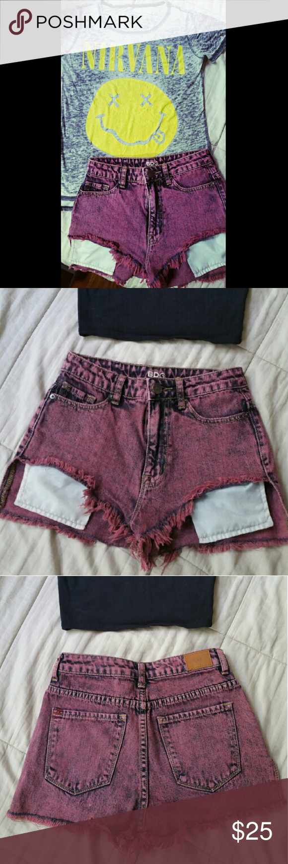 """[BDG] Hi Rise """"Lou"""" Hi-Low Shortie Acid wash jean shorts  BDG brand from Urban Outfitters  High rise """"Hi-Low Shortie"""" 100% cotton In great condition! Look brand new!!  Unfortunately too small for me BDG Shorts"""