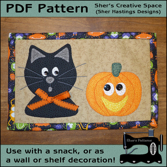 PDF Pattern for Halloween Mug Rug, Cat & Pumpkin Mug Rug Pattern ...