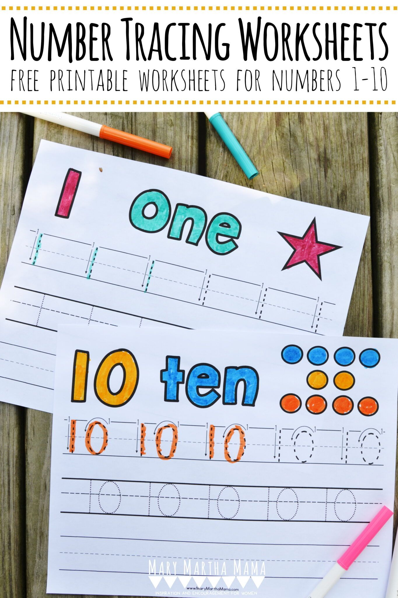 Number Tracing Worksheets 1 10 Mary Martha Mama In