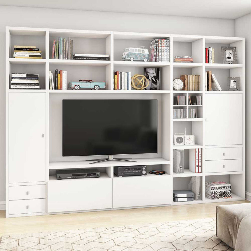 Weiße TV Wohnwand mit vielen Fächern & weiterem Stauraum   Penanza   Wohnwand, Regalwand, Tv ...