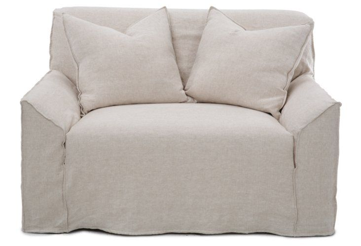 Sumptuous Chair And A Half In A Gorgeous Oatmeal Colored Slipcover