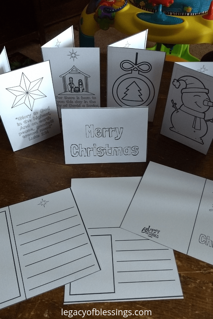Free Printable Christmas Coloring Cards For Kids Legacy Of Blessings Christmas Cards Kids Christmas Coloring Cards Christian Christmas Cards