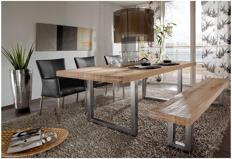 Esstisch aus massiv Eiche, Tisch mit einem Gestell aus Metall, Maße ...