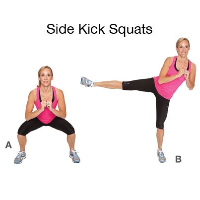Side Kick Squats. How to do it: Stand with legs hip width apart ...