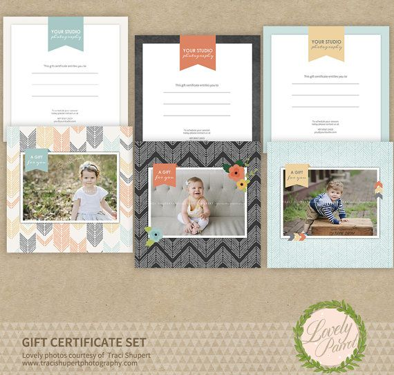 Photography Gift Certificate Templates Set of Three (3) INSTANT - photography gift certificate template