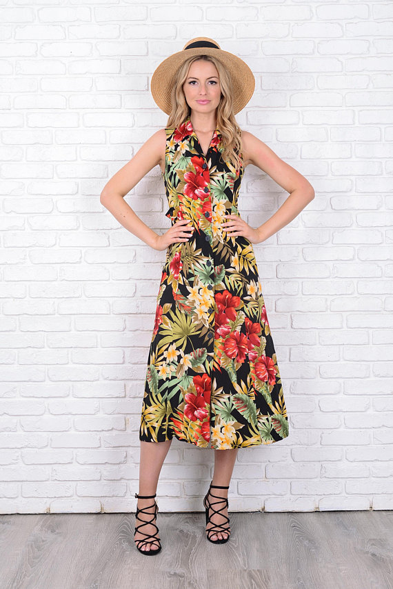 8f2b66620501 Vintage 80s 90s Black + Red Cutout Dress Midi Flower Floral Sleeveless S  11498