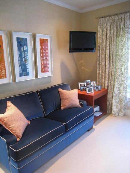 Suzie: Massucco Warner Miller - Tan orange blue den design with blue velvet  sofa with