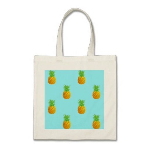 Pineapple Pattern on Blue Bag. A repetitive pattern of simple pineapples on a bright blue background. This is a cute and summery pattern perfect for many occasions.