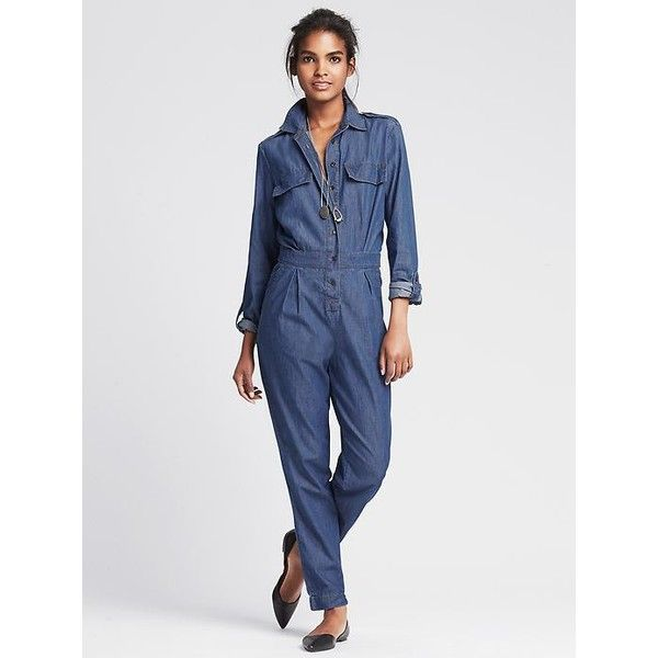 Banana Republic Womens Denim Jumpsuit Size 4 - Chambray blue (170 CAD) ❤ liked on Polyvore