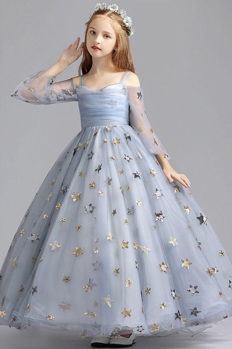 Misty Blue Puffy Long Flower Girl Dress with Gold Stars  #flowergirldress #bithdaydress #mistyblue