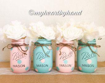 Mason Jar Baby Shower Decorations Pink And Gray Distressed Mason Jars Weddingmyheartbyhand
