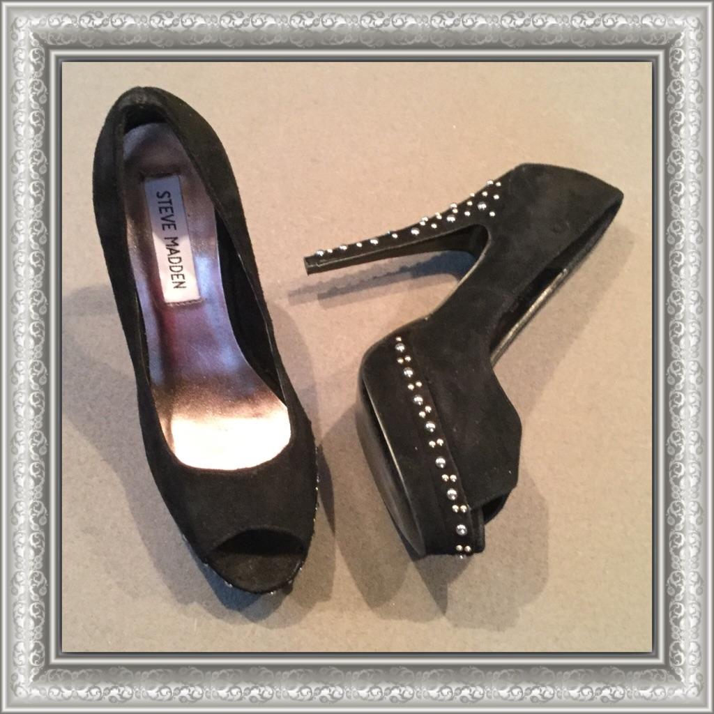 b9a374a133c Steve Madden Shoes | 3$30 Steve Madden Black Studded Suede Pumps ...