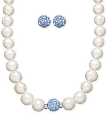 32c6260605 Honora Style Cultured Freshwater Pearl (7mm) and Blue Crystal Stud Jewelry  Set in Sterling Silver | macys.com