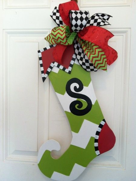 whimiscal christmas stockings Whimsical Wooden Christmas Stocking